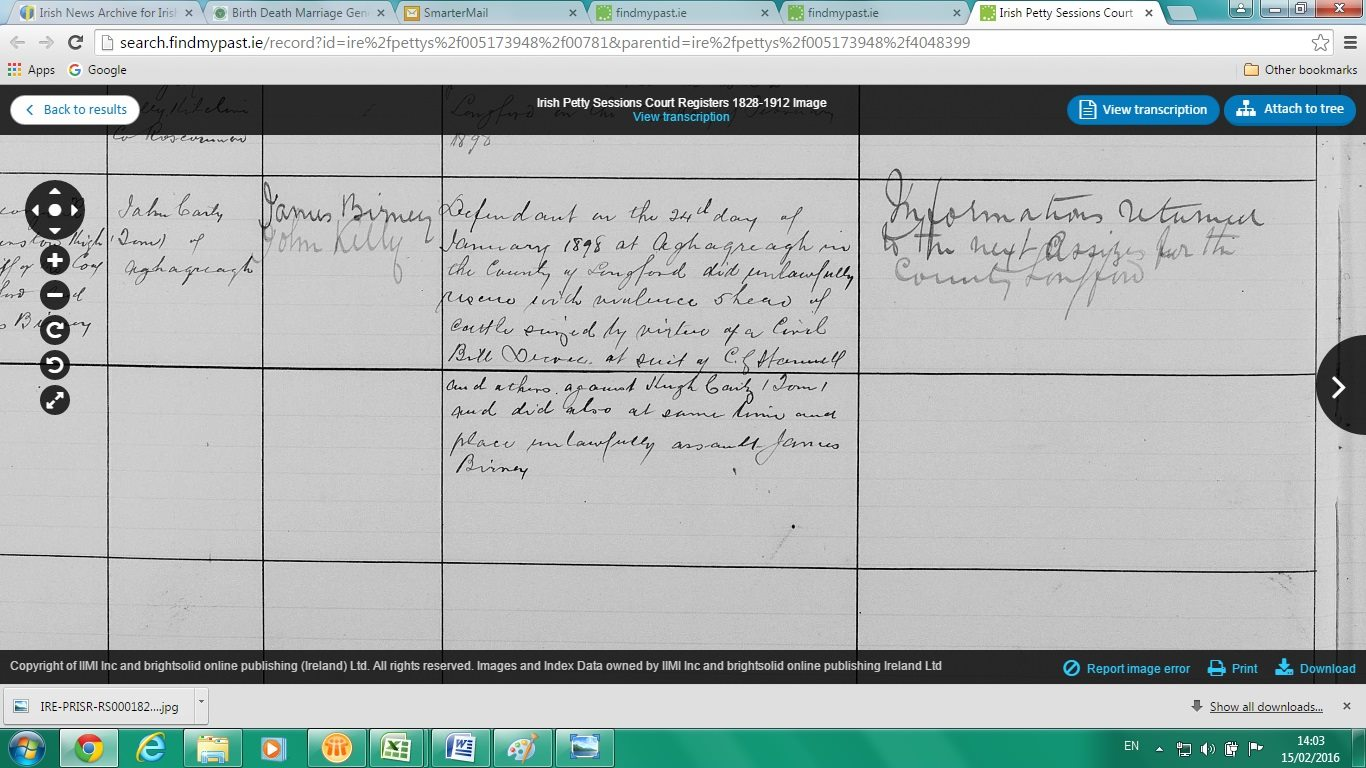 Found our great grandfathers jail record from Longford Gaol - cattle rustling / repossession with voilence of 5 Cattle seized beforehand from a Hugh Carty. www.findmypast.ie